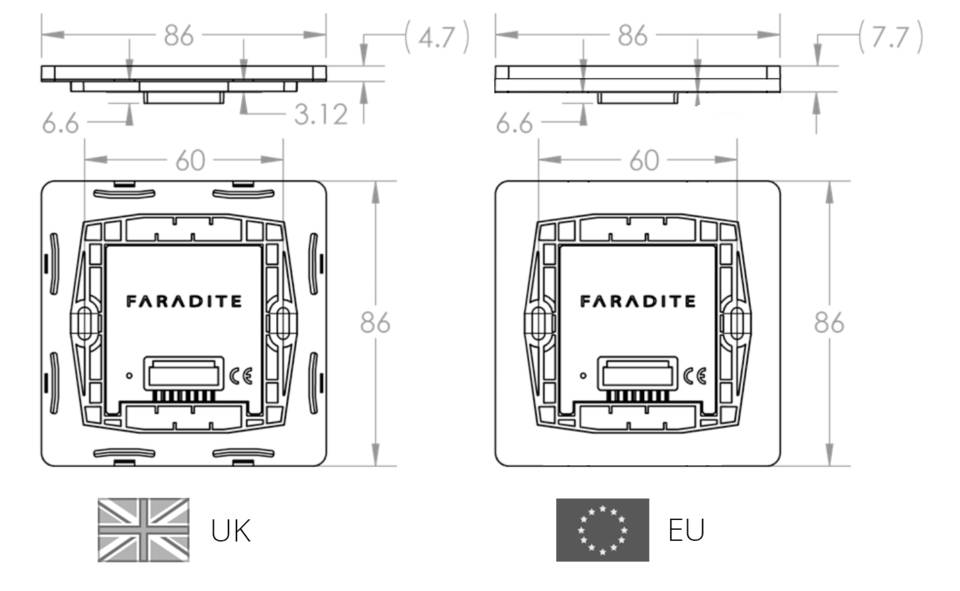 Faradite TAP Switch Mounting plate EU and UK Backbox