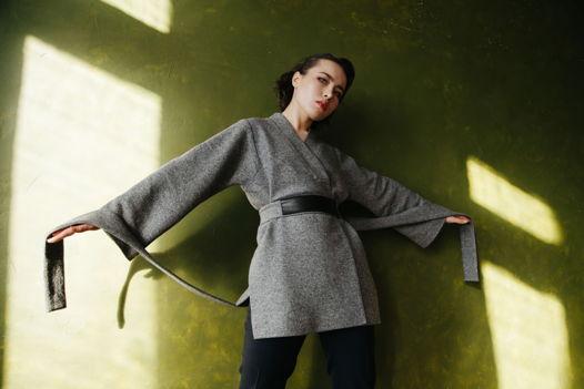 Кардиган-кимоно из шерсти