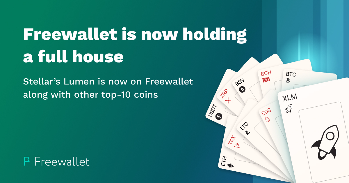 Freewallet adds Stellar's Lumen coin to its hand to form a full house
