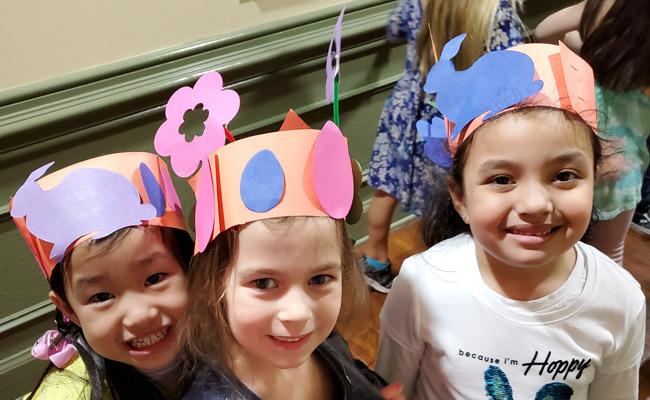girls wearing spring hats