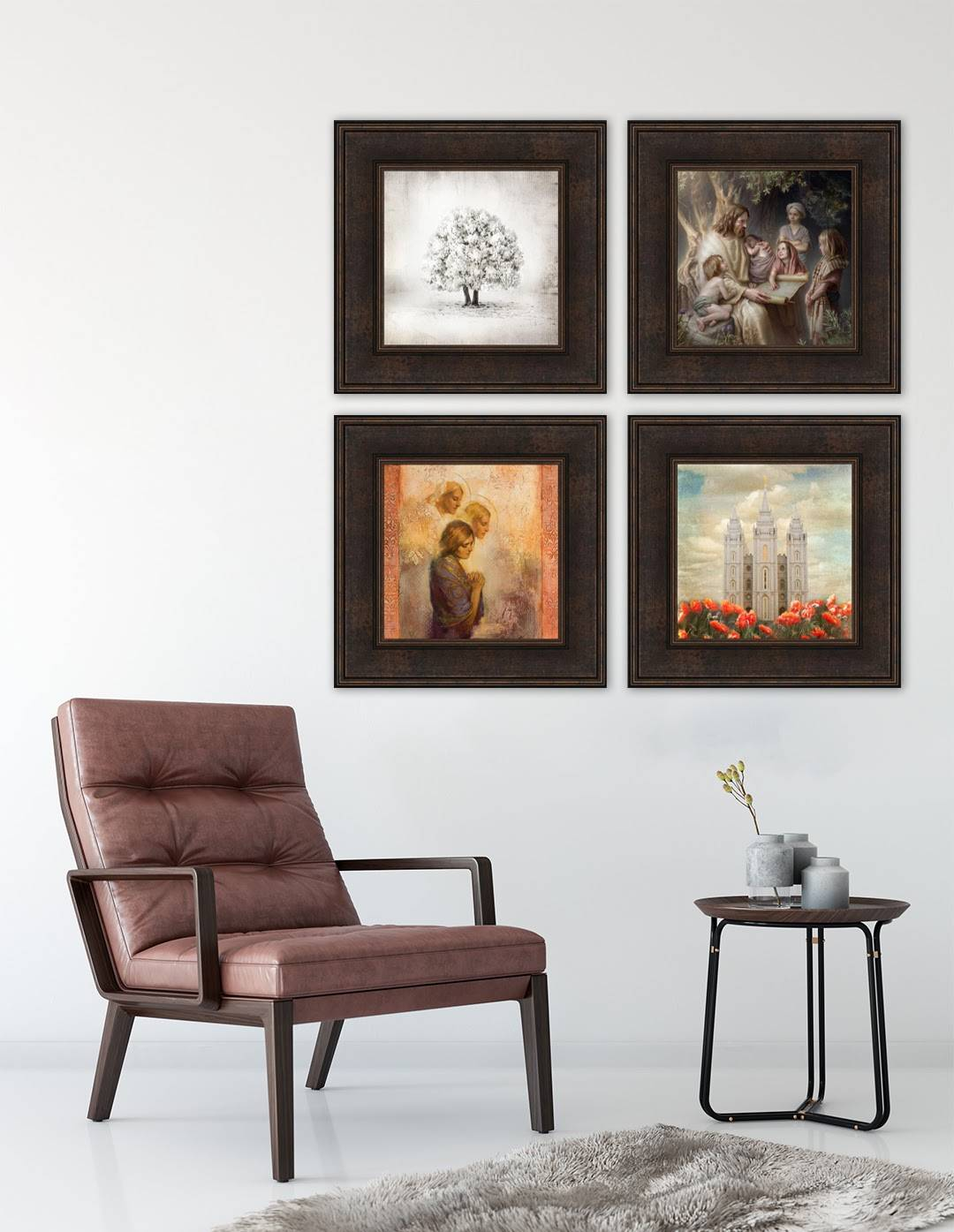 Environment shot of four LDS art paintings arranged in a square.
