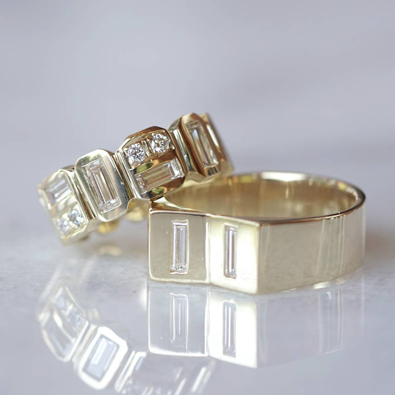 wedding bands in gold and diamonds