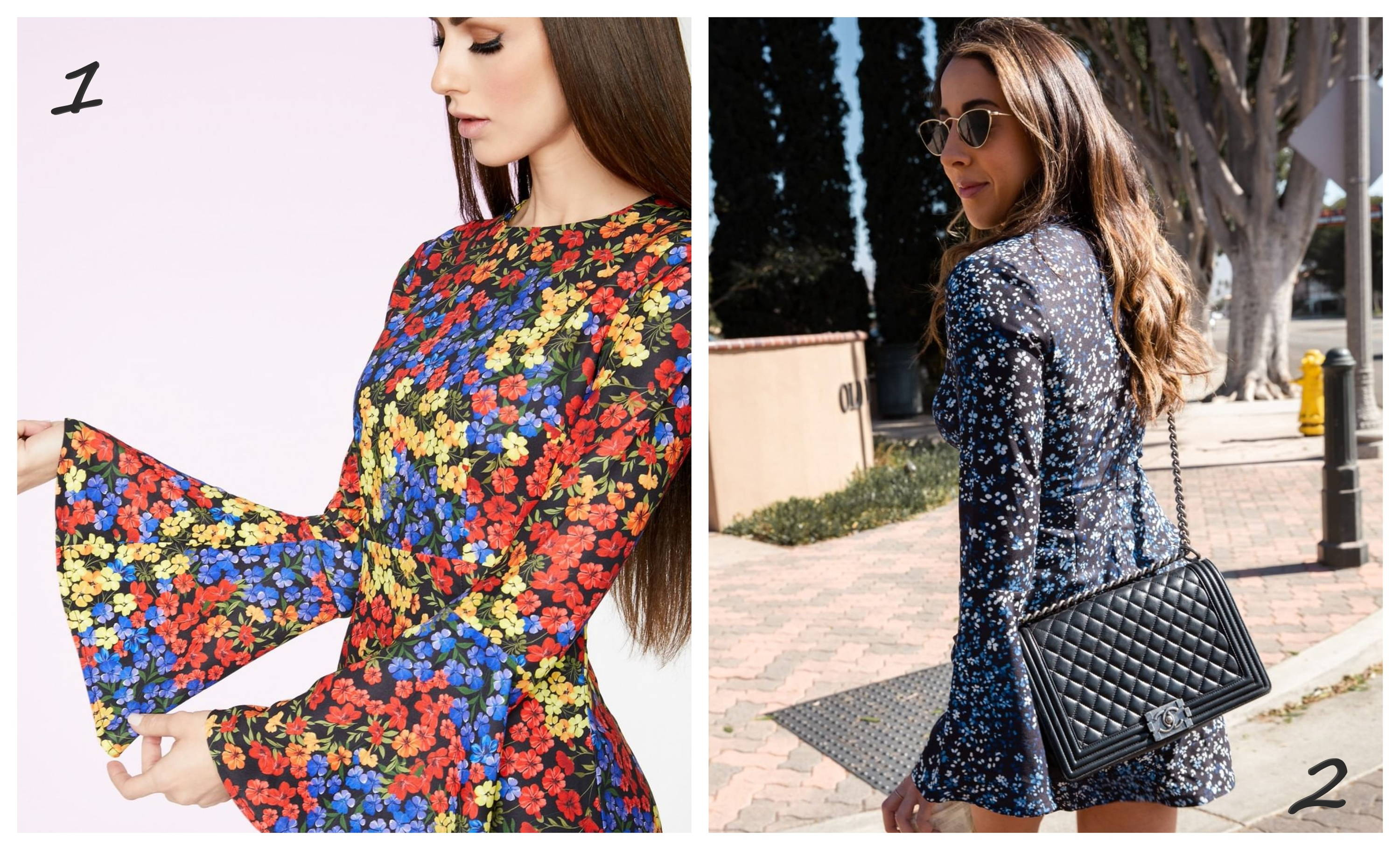 Floral Bell Sleeved Mini Dress