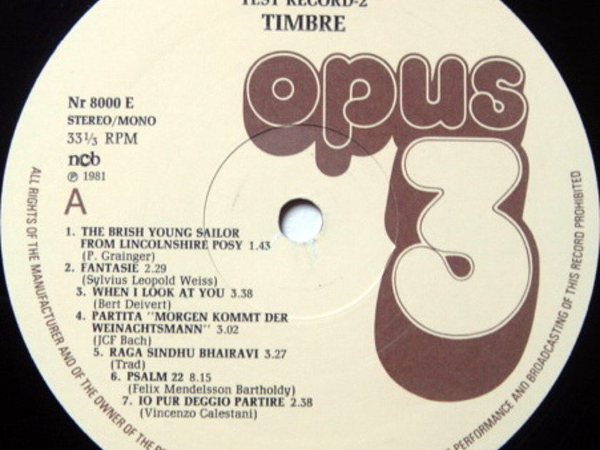 ★Audiophile★ OPUS 3 / - Test Record 2 - Timbre, MINT(OOP)!