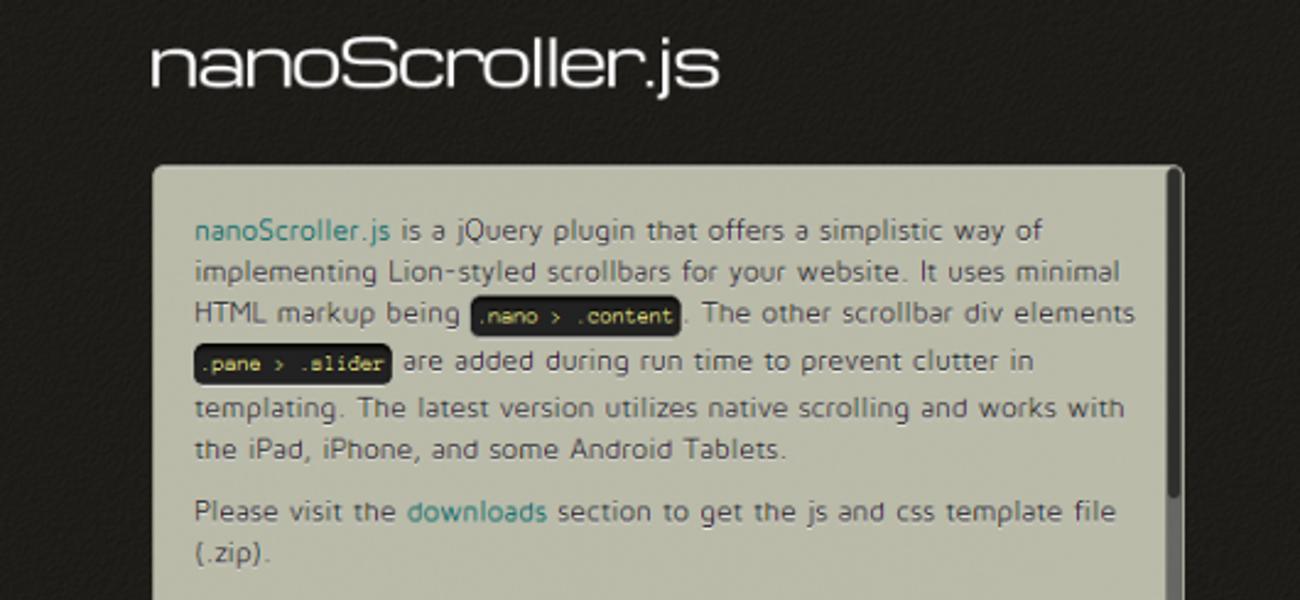 Полоса прокрутки для сайта в стиле Mac OS X Lion