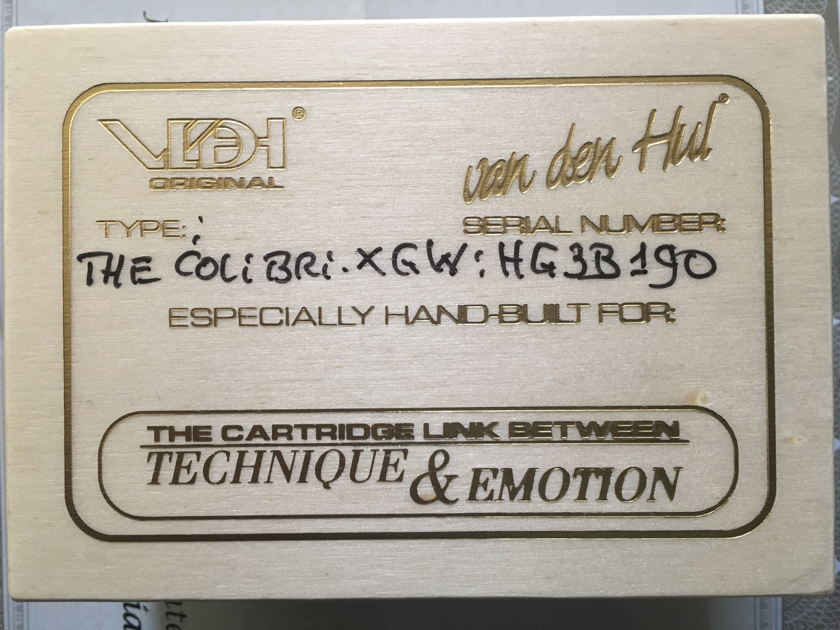 Van den Hul Colibri XGW  Phono Cartridge – Gold Wire Coils and Grenadille African Black Wood.
