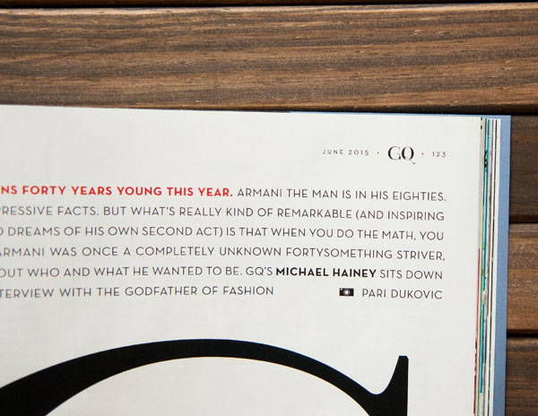 Paris Pro Typeface in GQ magazine