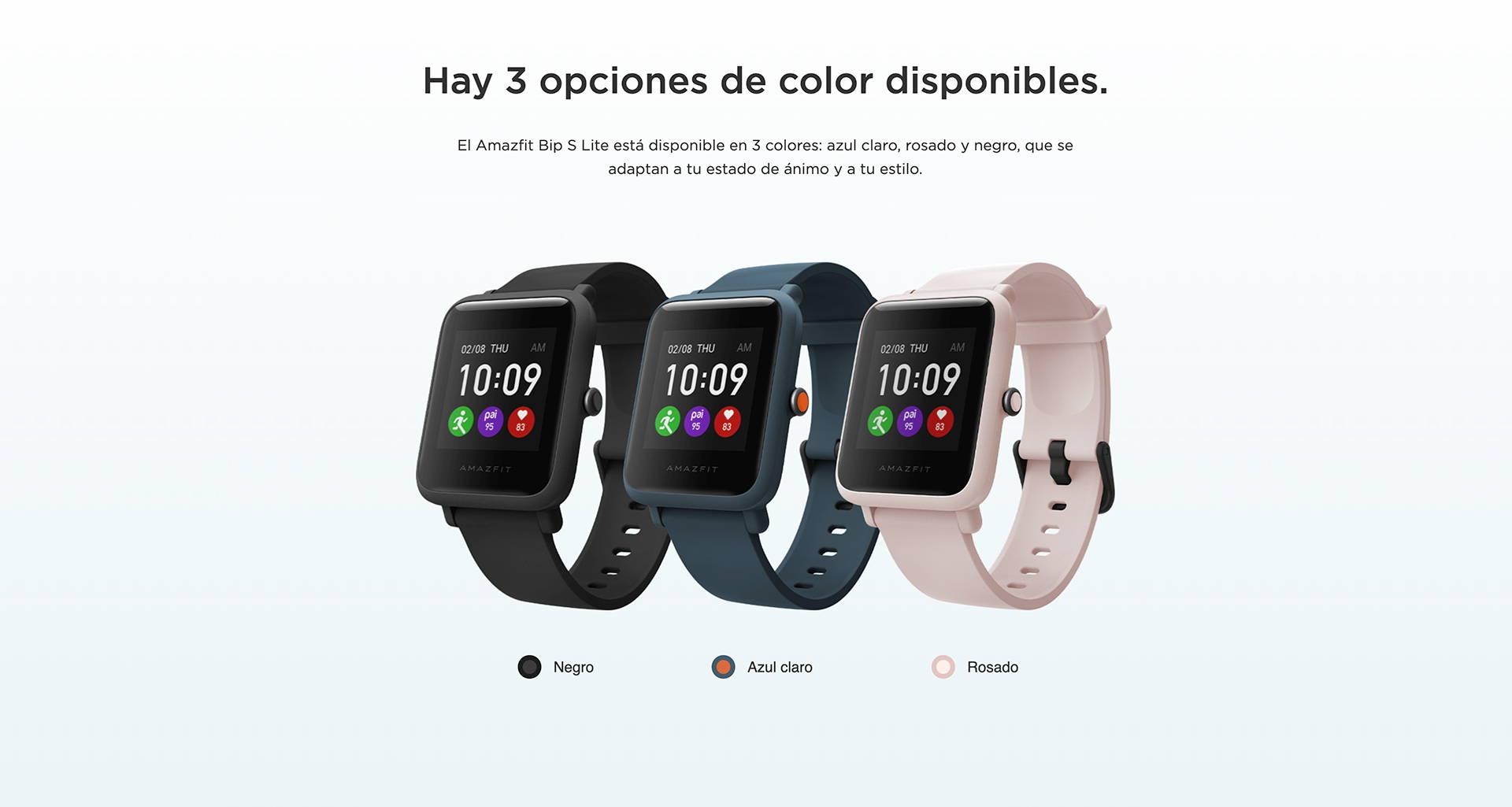 Amazfit ES - Amazfit Bip S Lite - Hay 3 opciones de color disponibles.