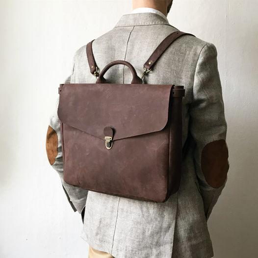 Кожаный рюкзак-портфель Dark Chocolate