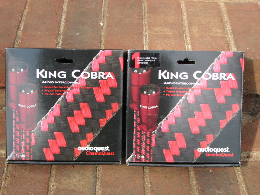 Audioquest   King Cobra 3 1.5M XLR Cables Total With Boxes For Front/Left/Center Channels