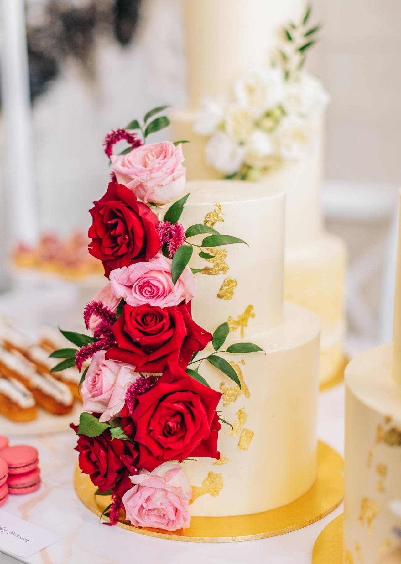 2 Tier Wedding Cake with Roses and Gold Foil