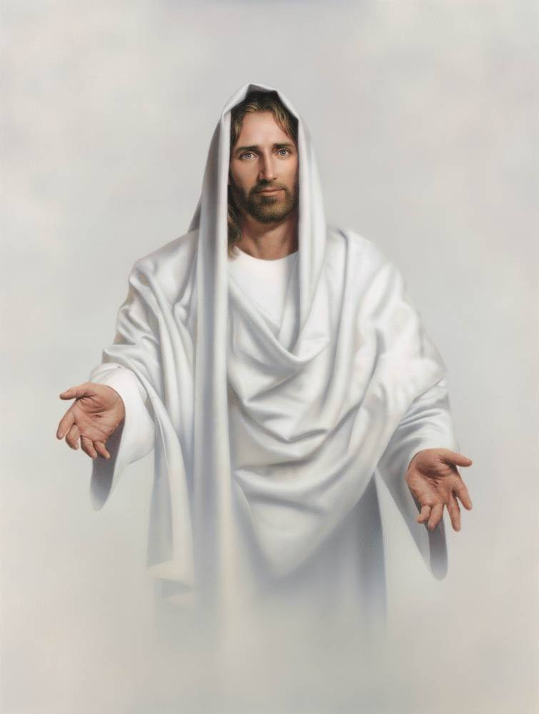 Painting of Jesus standing with His arms open toward the viewer.