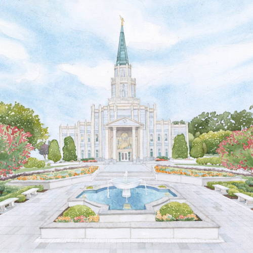 Painting of the Houston Temple and fountain.