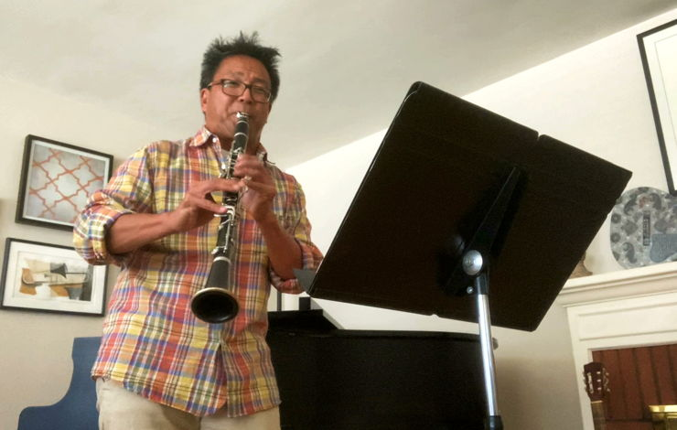 LA Phil Associate Principal Clarinet Burt performs at home