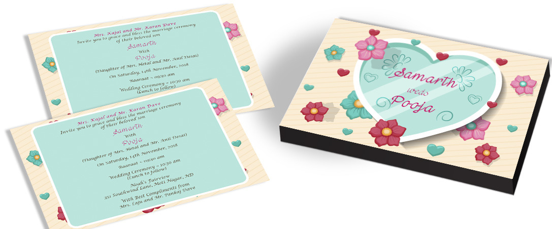 Heart & Flower Theme Invitation for Indian Marriage