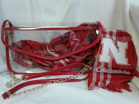Regulation Size Clear Crossbody with Husker Scarf