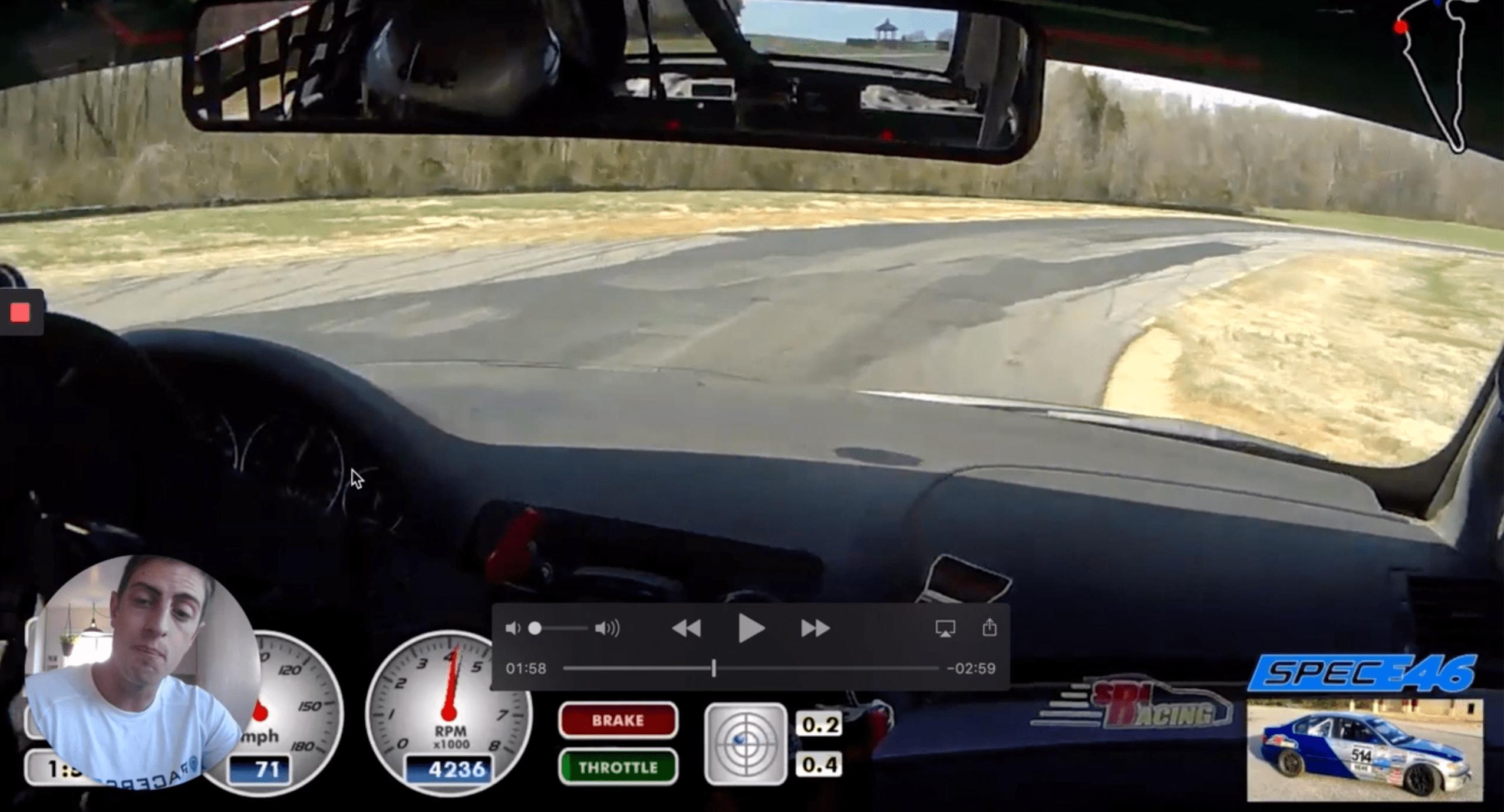 correct throttle application spot out of hogpen at Virginia International Raceway