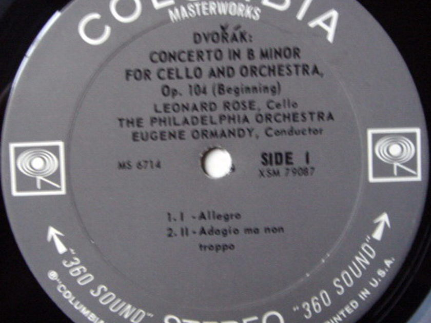 Columbia 2-EYE / ROSE-ORMANDY, - Dvorak Cello Concerto, MINT!
