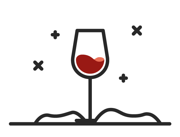 Icon of a red wine in a glass demonstrating that types of red wine can be served chilled.