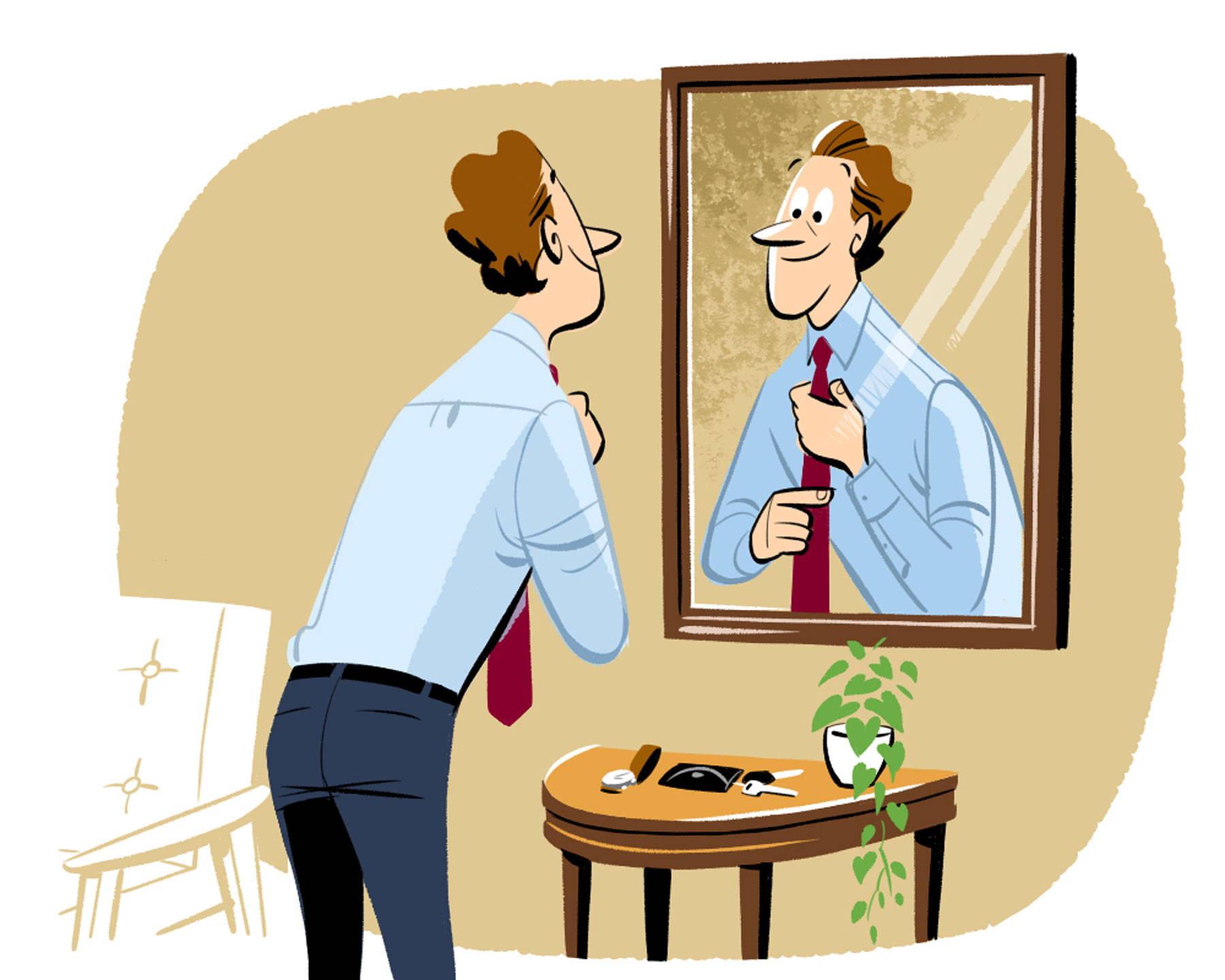 Illustration man tying tie in mirror