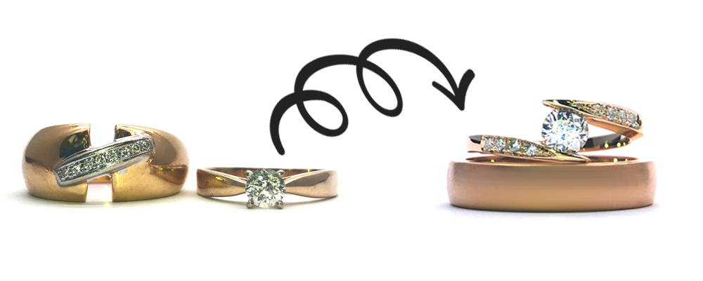 Two rings in yellow gold with diamonds turn into two rings, one semi-eternity engagement ring for women in pink gold with diamonds and the other a wedding band for men.