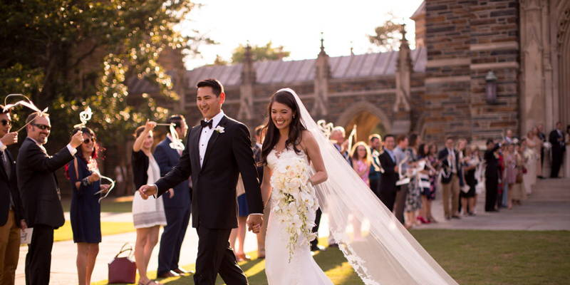 A Romantic First Look and a Gorgeous Duke Chapel Wedding