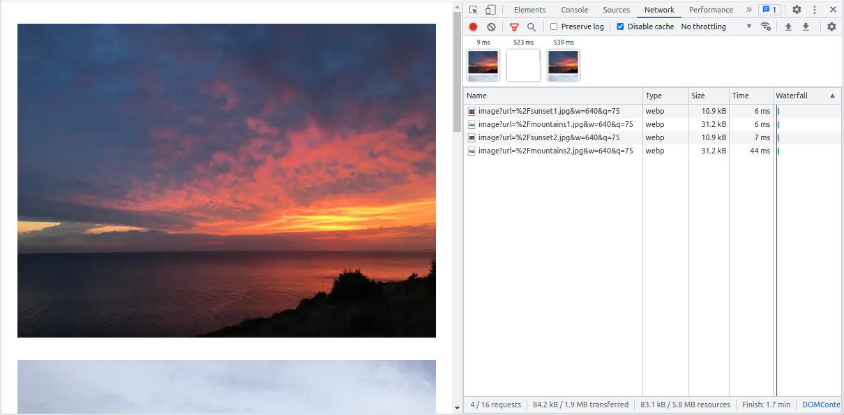 Better format, size and resolution with Next.js in Chrome Dev Tools