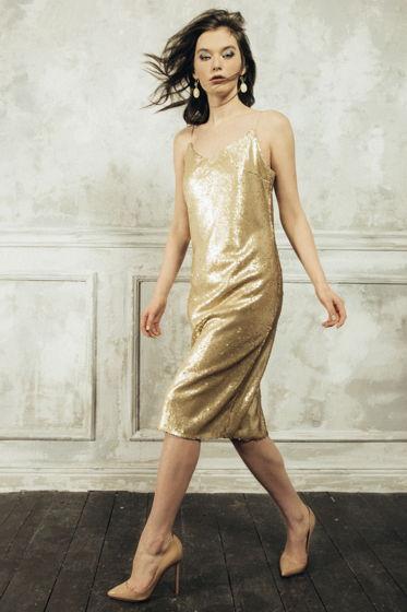 Платье-комбинация MurMur — пайетки, матовое золото