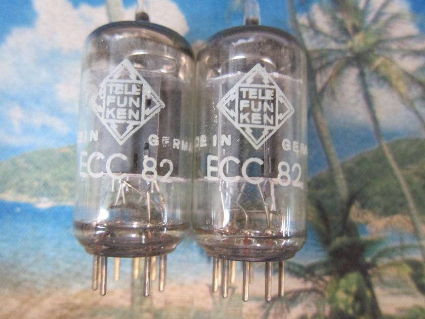 2 Pr Telefunken Vintage 12au7/Ecc82s + 12at7/Ecc81s,Vintage 1960s,Ex Sound Test Strong, West Germany