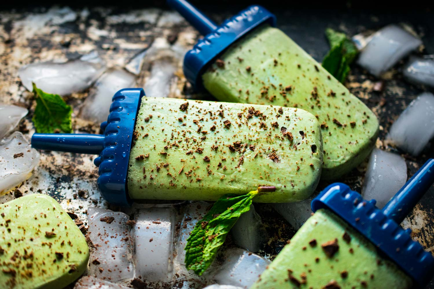 Mint Chip Popsicles with Micro Greens