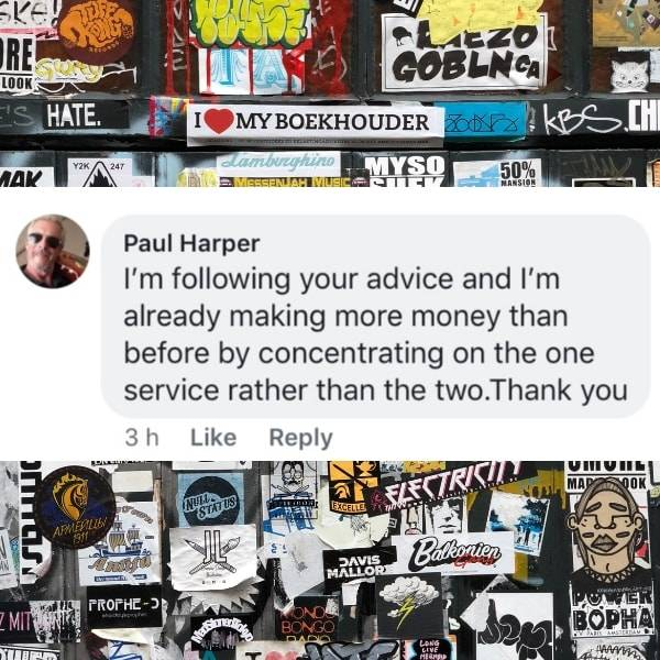 Paul Harper thanking Annette Ferguson for her content and how it's helped him made more money
