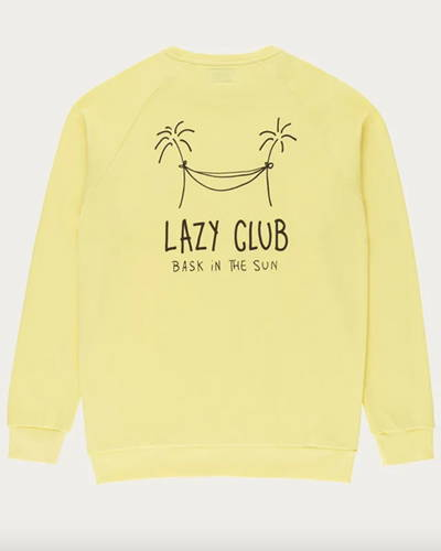 Back of yellow organic cotton mens sweatshirt with palm tree black line printed illustration on reverse
