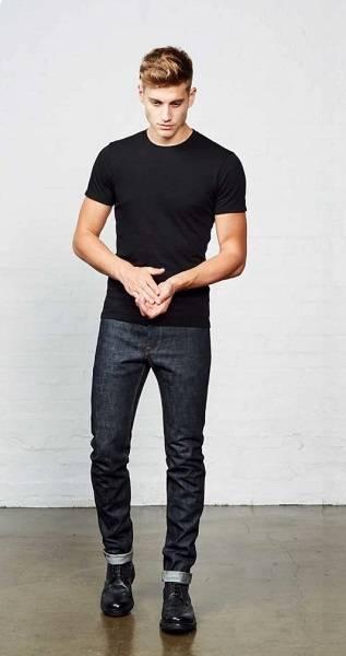 Black Crew Neck Tee + Selvedge Jeans