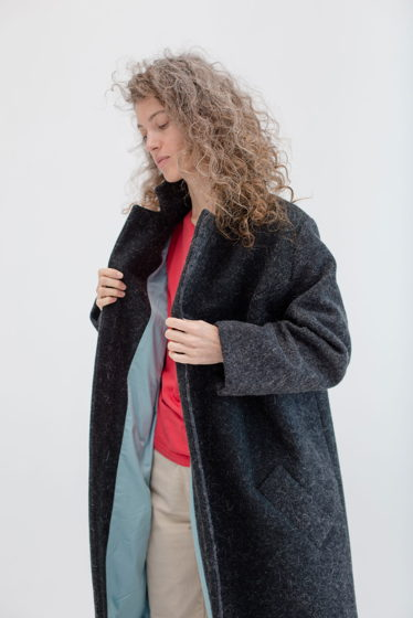 зимнее шерстяное пальто на хлопковой подкладке *асфальт*