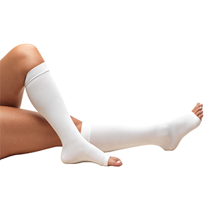 Knee High Open Toe Anti-Embolism Stockings in White