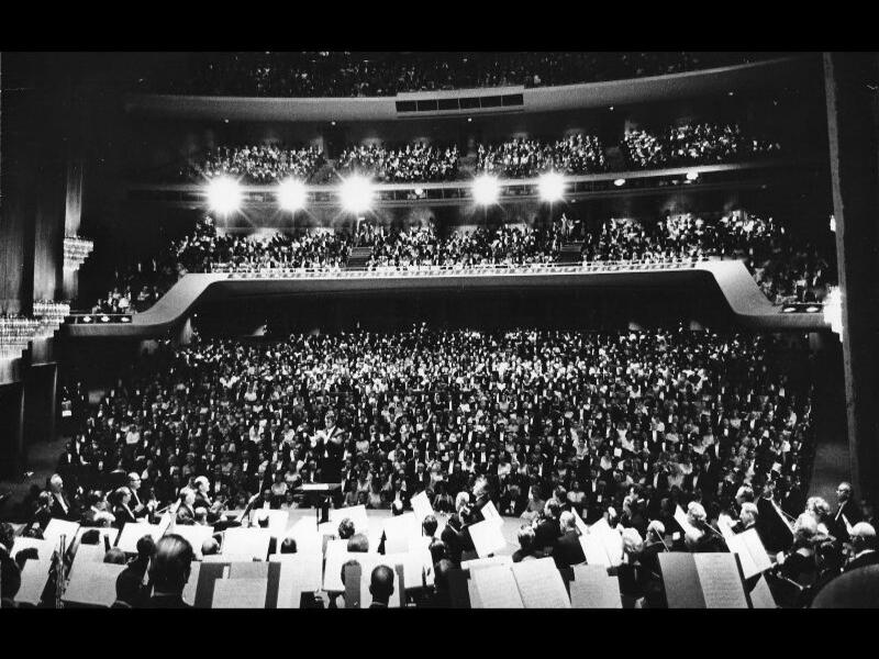 A capacity audience of 3,250 fills the Dorothy Chandler Pavilion at The Music Center for the venue's inaugural concert in 1964.