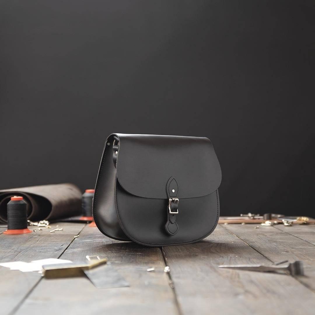 Grey Medium Leather Saddlebag