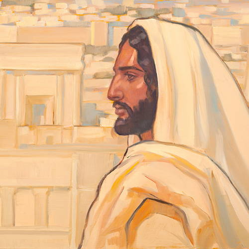 Painting of Jesus standing profile against the white buildings of Jerusalem.