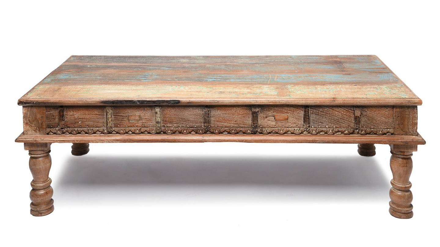 Indian Takhat Coffee Table Made From Reclaimed Teak   Indigo Antiques