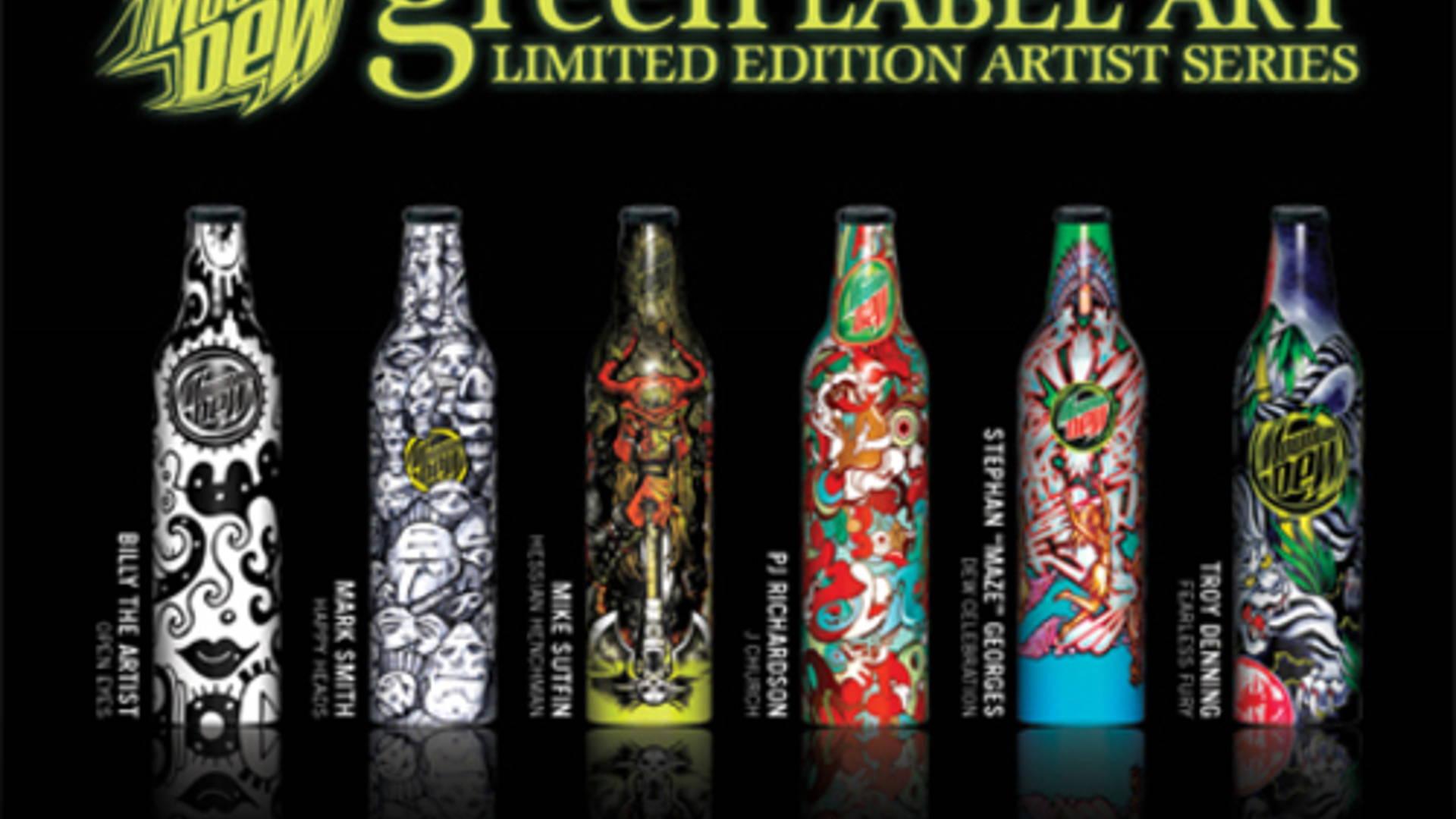 "Troy Denning ""Fearless Fury""  Full Aluminum Mountain Dew Green Label Art Bottle"