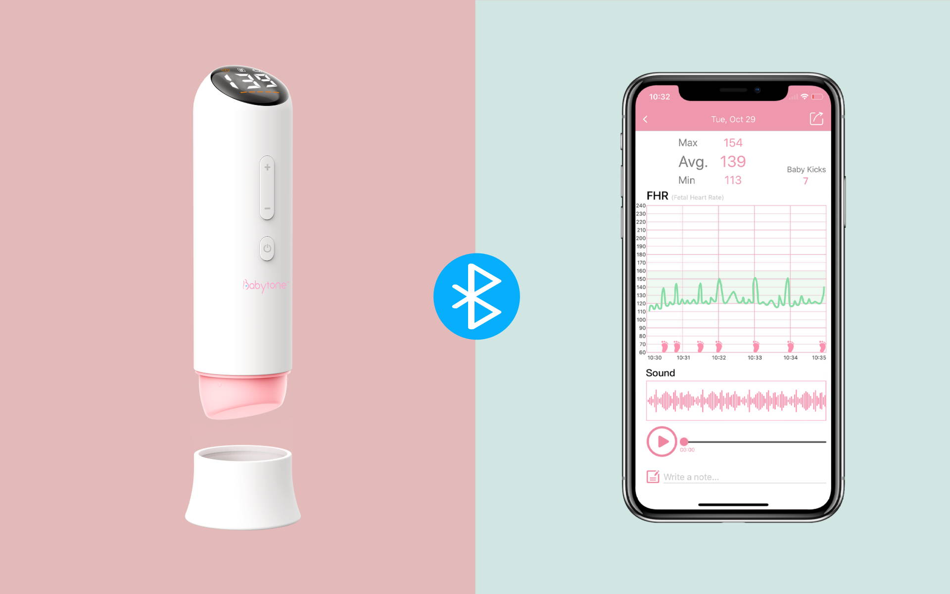 Conecte el monitor cardíaco fetal Babytone a la aplicación a través de Bluetooth