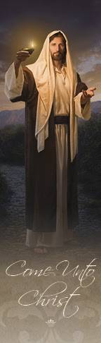 """LDS art bookmark of Christ beckoning and holding a lamp. Text reads: """"Come Unto Christ."""""""