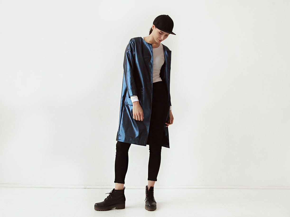 Пальто синий металлик GVOZDEVA