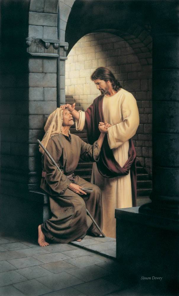 Painting of Jesus curying a blind man.