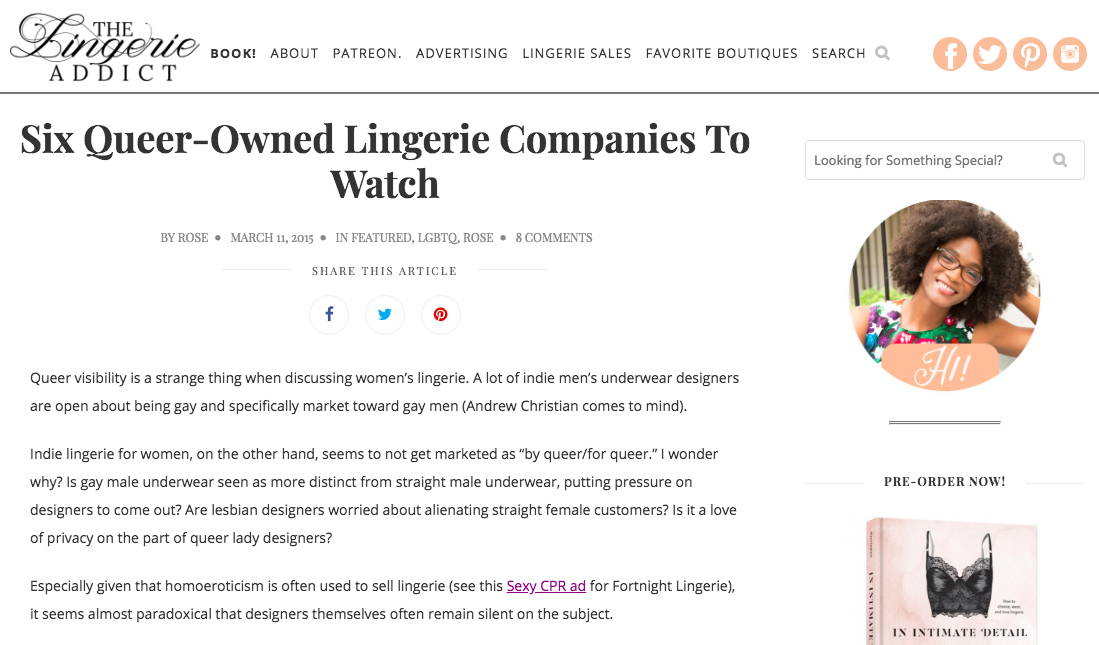The Lingerie Addict - Six Queer-Owned Companies to Watch