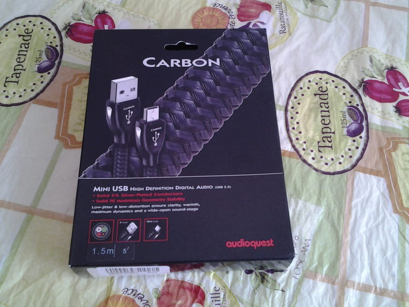AUDIOQUEST CARBON MINI USB 1.5M A PLUG MINI PLUG 2.0 USB