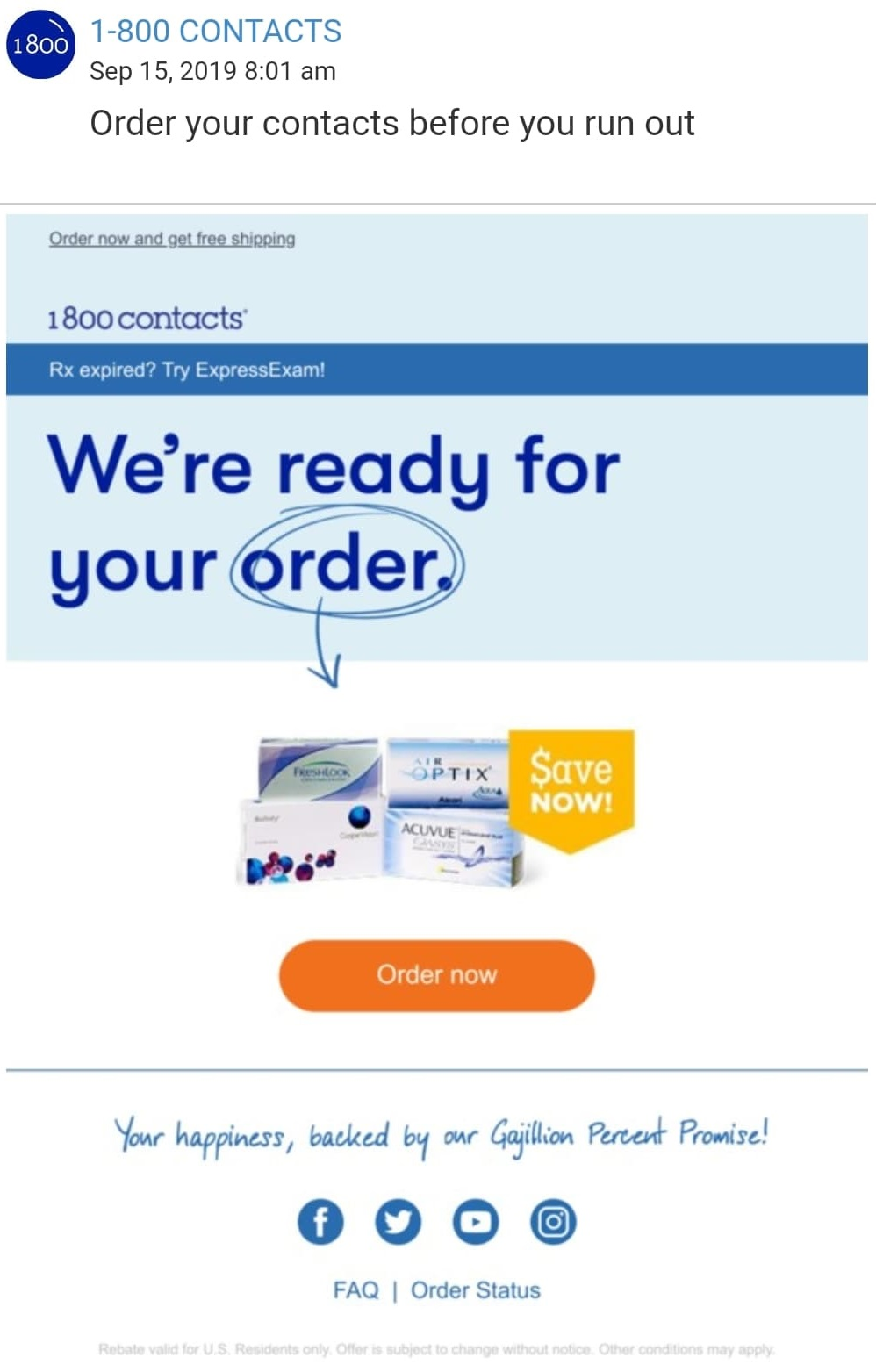 You can use automation and triggers in your email marketing for retail, just like this 1800-Contacts replenishment email does.