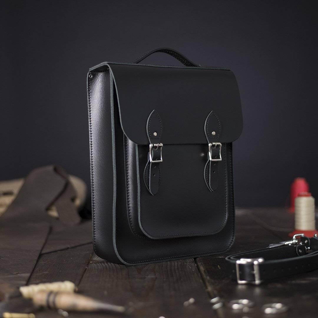 Black Medium Leather Backpack