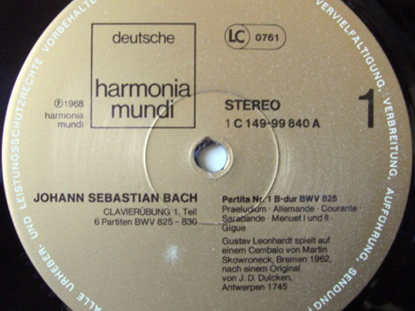 ★Audiophile★ Harmonia Mundi / LEONHARDT, - Bach Six Partitas, NM, 3LP Box Set!