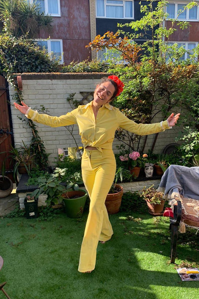 Lily Bertrand-Webb in head to toe sunshine yellow cord